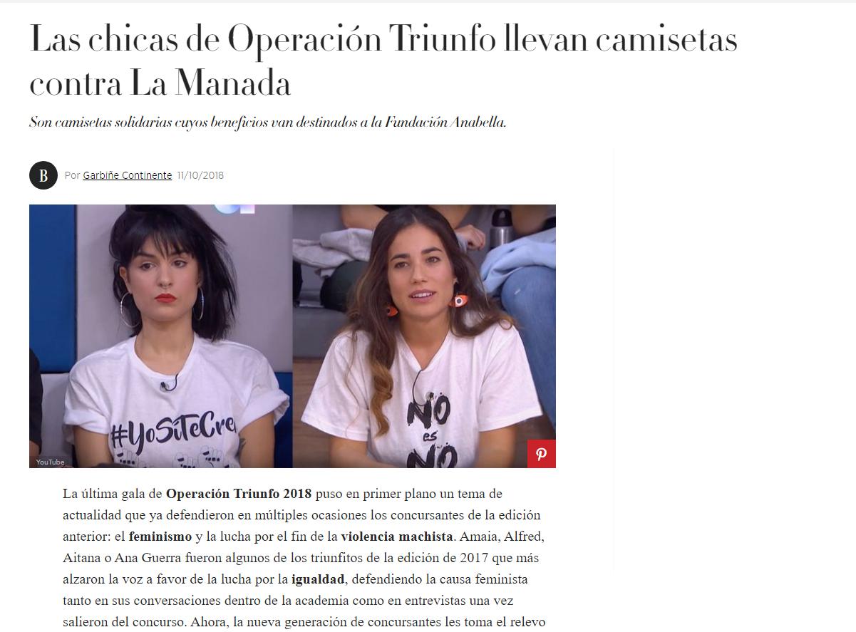 las chicas de operacion triunfo llevan camisetas contra la manada
