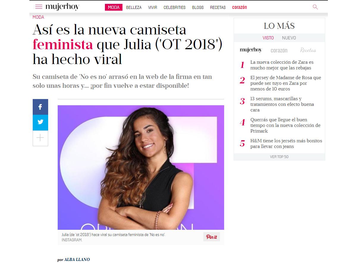 así es la nueva camiseta feminista que Julia (ot 2018) ha hecho viral